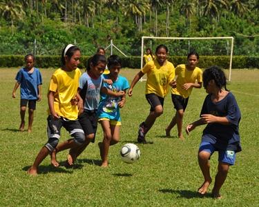 Samoan kids playing football
